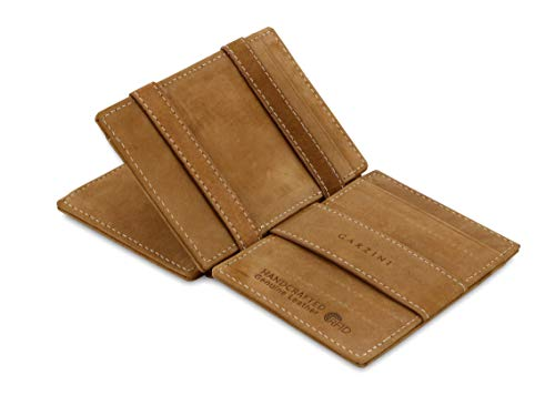 Garzini Spacious Magic Wallet with ID Window, Wallet with RFID card holder, Leather Wallet for 14 cards, Camel Brown