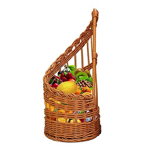 Cesta Tejida a Mano, Imitación Ratán tejida cesta almacenamiento,Ratan Plástico Canasta Cesta Fruta para Cocinas Mesas Cafeterías
