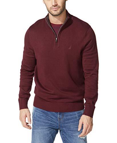 Nautica Men's Quarter-Zip Sweater, Royal Burgundy, Large