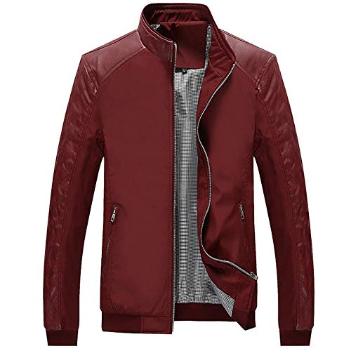 Hooded Faux Leather Jacket Hat Men's Slim Jacket-Wine Red_5XL