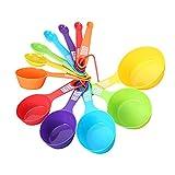 MOVKZACV Juego de 12 cucharas medidoras coloridas y tazas medidoras