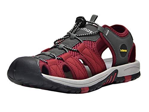 Knixmax-Sandalias de Senderismo Verano para Hombre Mujer Verano Exterior Senderismo Ligeras Antideslizantes Zapatillas Trekking Deportivas Casuales Sandalias de Playa, EU41 (UK8) Rojo