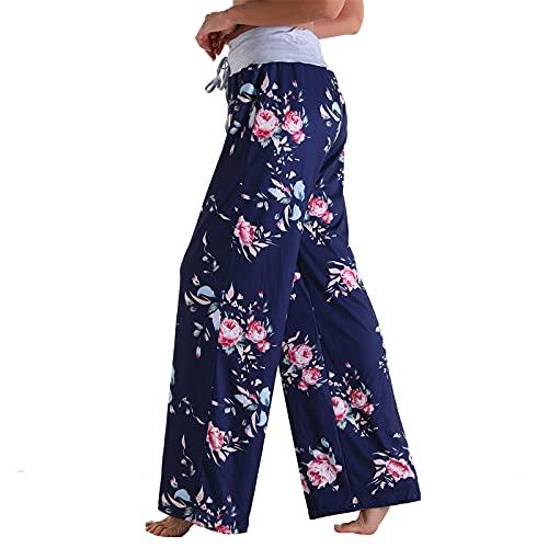 FeelFree+ Pantalones de Sueltos Casuales Mujer Rectos Pantalones Largos Verano Mujer Talla Grande Cintura Alta Pantalon de pierna ancha Cropped Pantalones Mujer con Bolsillos Deporte Jogging
