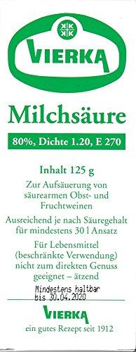 VIERKA Milchsäure 80% ig zur Aufsäuerung von säurearmen Obst + Fruchtweinen Verschiedene Größen (125 ml)