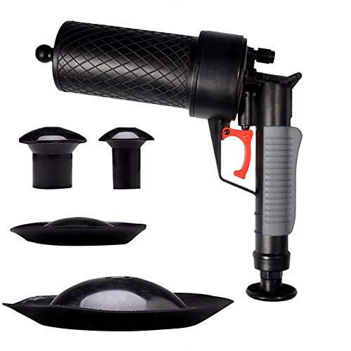 Rohrreiniger Druckluft -Hochdruck Pressluft Rohrreinigungspistole für Toilette Bad Küche mit 4 Aufsätzen
