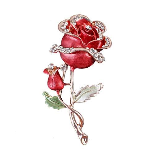 HSQYJ Broche de flor de rosa roja de cristal de esmalte broche de moda personalidad floral broche decorativo chaqueta pin fiesta baile boda banquete para mujeres elegantes accesorios de joyería