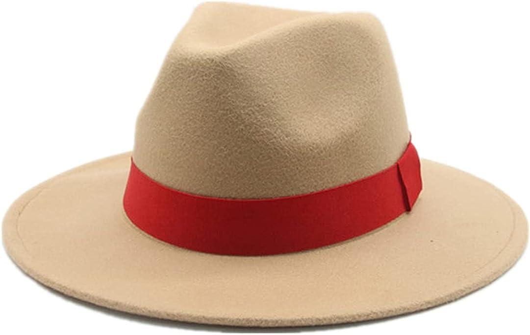 AXSKMY Women Solid Ribbon Band Fedora Hats Formal Dress Wedding Church Jazz Felted Caps