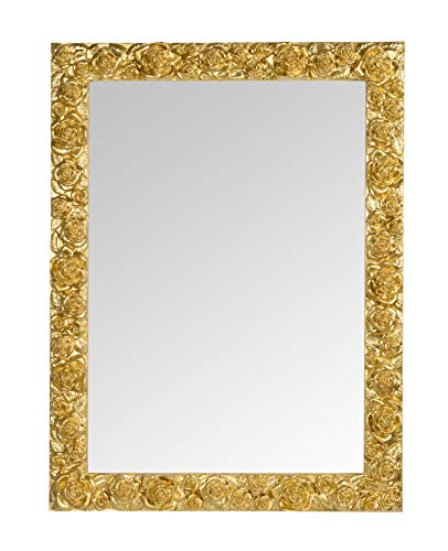 MO.WA Espejo de Pared con Marco de Madera Tallada cm. 62x82 y Decorado con Pan de Oro
