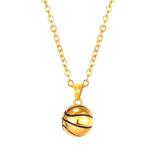 U7 18k vergoldet Collier mit Kettenanhänger Basketball Charm Anhänger Halskette Sportfan Fashion Schmuck mit 55cm Kette für Männer Frauen Jungendlich, Gold-Ton