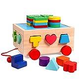 Lewo Bus di ordinamento in pila di Legno Giocattoli di Puzzle Geometrici di riconoscimento di Colore di Forma preliminare del Giocattolo Push-Pull Classico del Giocattolo per i Bambini