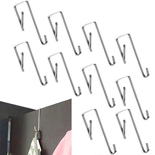 Türhaken Edelstahl 20er Set, Kleiderhaken über Tür mit | Kleider-Haken - Türgarderobe - Badezimmerhaken | Fensterhaken Deko | Handtuchhalter Edelstahl, Glänzend