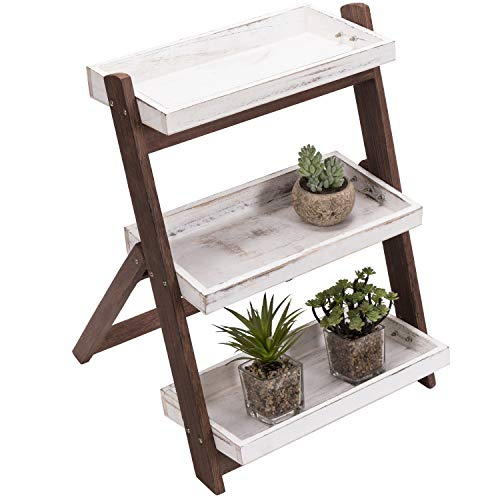 MyGift 3-Tier Vintage White / Burnt Brown Wood Freestanding Display Shelves