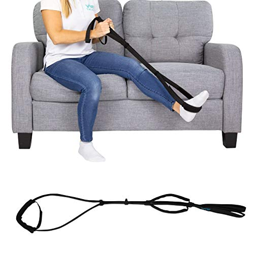 Vive Proflex Strap - Physical Therapy Leg Lifter Assist with Nylon Webbing for Recovery, Stretching - Loop with Hand Grips - Lift Foot, Calf - Rigid for Elderly, Handicapped, Injury, Car and Bed