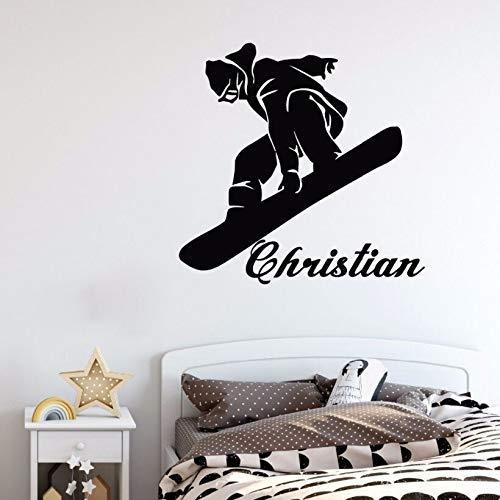 Snowboard Wandtattoo Personalisierter Name Sport Tapete Hauptdekoration Kinderzimmer63X61Cm