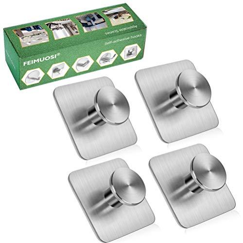 Ganchos adhesivos Gancho para toallas de uso pesado Gancho de pared resistente al agua Gancho de llave de acero inoxidable Ganchos autoadhesivos Se aplican al baño Hogar Cocina Oficina-4 paquetes