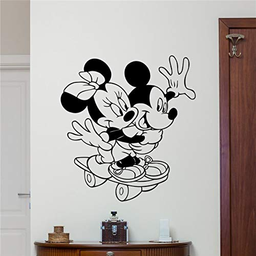 Mickey Minnie Mouse Vinyl Wandtattoo Sport Skateboard Cartoons Baby Girl Boy Kinderzimmer Wandaufkleber 58 x 63 cm