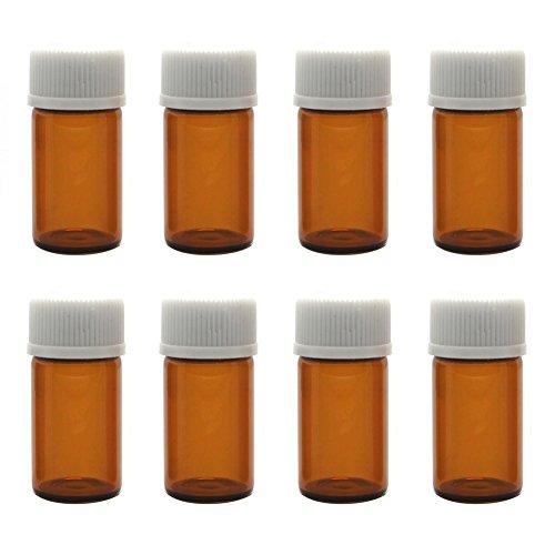 12PCS Botellas Aceite EsencialCristal Ámbar Con Tapa Espiral Blanca y Orificio Reductor Perfume Maquillaje Attar Cosmético Almacenamiento Vial Contenedores Botellas muestra