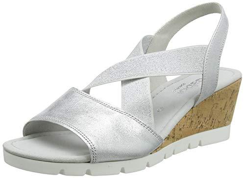 Gabor Shoes Comfort Sport, Sandali con Cinturino alla Caviglia Donna, Multicolore (Silber (Kork) 61), 38 EU