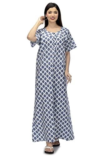 Indian Handicraft Palace Cotton Women/Girls Night Gown/Night Wear/Nighty/Casual Wear-03 White