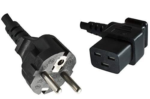 DINIC Netzkabel Stromkabel CEE 7/7 Schutzkontaktstecker auf C19 für 16A (1,80m gewinkelt, schwarz)