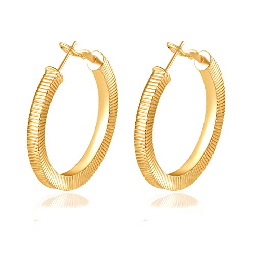 Yumay-9ct Yellow Gold Filled Creole Hand-Carved Round Hoop Earrings for Womens and Girls(40mm)