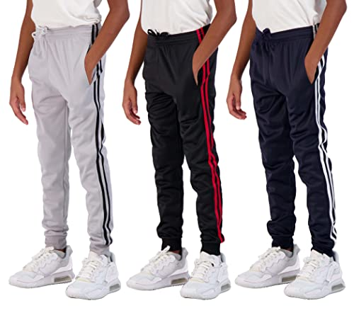 Real Essentials 3 Pack Boys Tricot Sweatpants Joggers Track Pants Athletic Workout Gym Apparel Training Fleece Tapered Slim Fit Tiro Soccer Casual,Set 2,S (8)