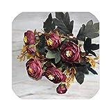 人工茶ローズシルクフラワーブーケ用ホームウェディングデコレーションヨーロッパ安い花瓶テーブルアレンジメントフェイクフラワー、ワインレッド