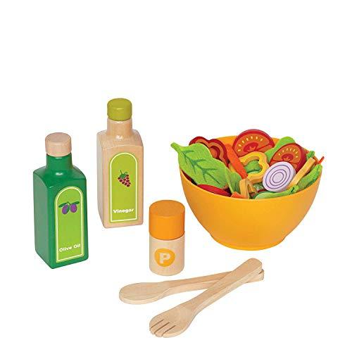 Juego de Cocina Ensalada de Hape,Juego de Comida de Madera para Niños y Niñas, Ingredientes de Ensaladas y Accesorios para Fomentar Hábitos de Alimentación Saludables Galardonado