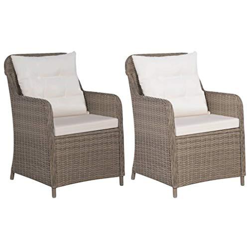 Festnight 2-teiliges Set Gartensessel Loungesessel Sessel Gartenstuhl | 2 Sessel & 2 Sitzkissen & 2 Rückenkissen | für Garten Terrasse Poly Rattan Braun und Cremeweiß
