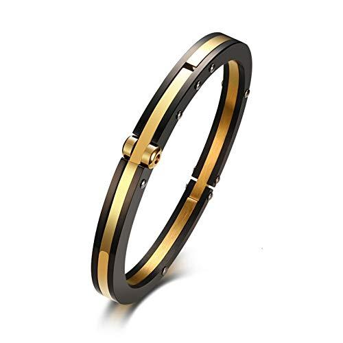 WXYBF Herren Armband 7 Mm Verschluss Manschette Armband Für Männer Armreif Edelstahl Klassische Einfache Schmuck Black & Gold Farbe