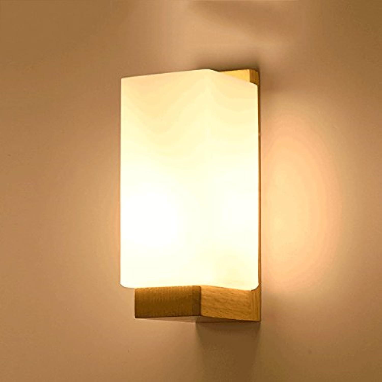 PIAOLING Nordic moderne einfache Massivholz LED Wandleuchte, japanische Wand Quadrat Nachtlicht, Wohnzimmer Restaurant Schlafzimmer Studie Balkon Gang Treppen Wand Beleuchtung