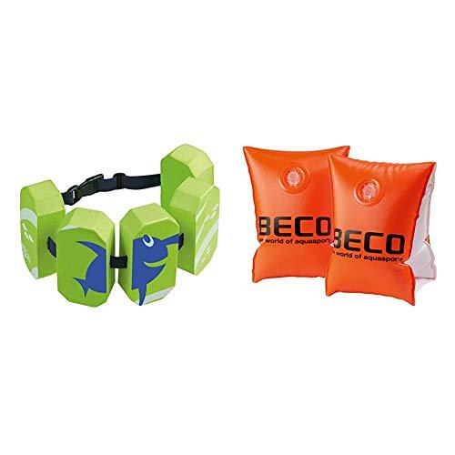 Beco 96071 8 - Schwimmgürtel Sealife, für 2-6 Jahre, 15-30 kg, grün & 09703 Schwimmhilfen Doppelkammersystem, Körpergewicht 15 bis 30 kg