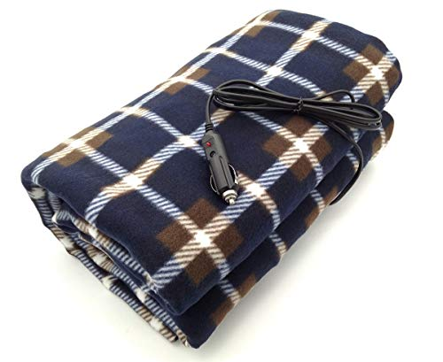 7Buy 12V Fleece Car Travel Electric Heated Blanket for Medium and Small Cars (Blue/Brown)