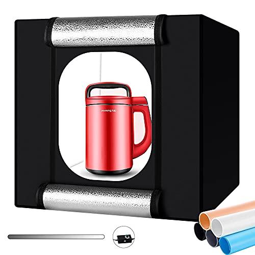 Fotozelt, Heorryn 60 x 60 x 60cm Faltbare Fotostudio Lichtzelt Set mit 192 Dimmbare LED-Beleuchtung und 5 Farbigen Hintergründen für die Fotografie