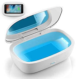 UV Light Sanitizer Box with Wireless Charger, Portable UVC Sanitizer Disinfection Box for Cell Phone, Makeup Tools, Glasses, Earphone, Watches, Keys, 6 UVC LEDs, Sterilization Rate Up to 99.9% by