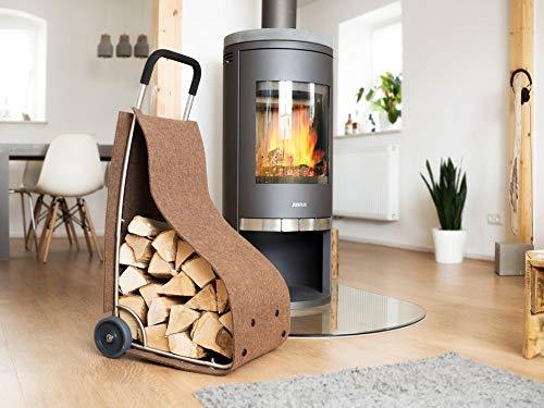 Filz-trolley Feuer-holz-korb Kamin-holz-korb zur Aufbewahrung für Holz Zeitungen Utensilien in der Farbe braun