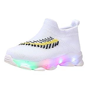 YWLINK Zapatos Luminosos Led NiñOs Y NiñAs Zapatos Casuales Transpirables Antideslizantes Zapatos Ligeros Calcetines Zapatos Comodo Zapatos Planos Zapatillas Luminosas Regalo De CumpleañOs(21-30EU)