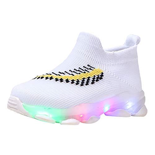 Patifia Kinder Kleinkind Baby Jungen Mädchen LED Sneaker Elastisches Tuch Atmungsaktiv Feder Drucken Mesh Turnschuhe Lauflernschuhe Mode Socken Schuhe mit Licht Blinkende Luminous Freizeitschuhe