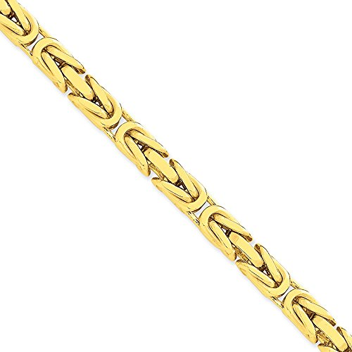 Collana in oro giallo 14 kt, con catena bizantina, da 6,50 mm, da uomo e da donna