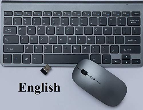 Yqs Teclado/Teclado Ruso español/Inglés/Árabe 2.4G y ratón del Teclado Combo Mini multimedias Set de ratón for el Ordenador portátil de la PC TV Grey (Color : Gray English Set)