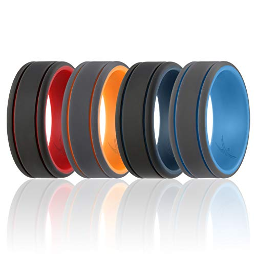 ROQ Silicone Wedding Ring for Men - Duo Collection Lines Style - 4 Pack Silicone Rubber Wedding Bands - Classic Design - Red, Black, Orange, Grey, Dark Blue, Light Blue Colors - Size 10