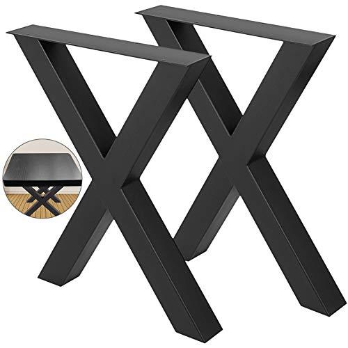 BuoQua Tischbeine 720x 600 mm X-Frame, Tischgestell 28 x 24 Zoll Edelstahl Tischkufen Schwarz einfache Montage, Tischbeine Metall schwarz Tischzubehör für Esstisch Schreibtisch Couchtisch