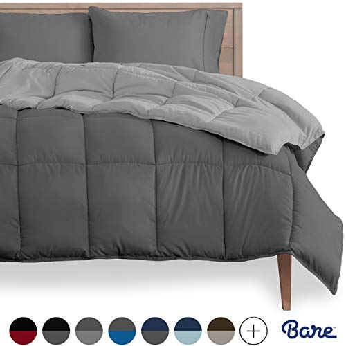 Bare Home Reversible Comforter - Twin/Twin Extra Long - Goose Down Alternative - Ultra-Soft - Premium 1800 Series - Hypoallergenic - All Season Breathable Warmth (Twin/Twin XL, Grey/Light Grey)