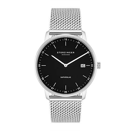 Sterzinger München Herren-Uhr analog Ronda-Uhrwerk mit Edelstahl-Armband Milanaise Silber Saphirglas 10040037