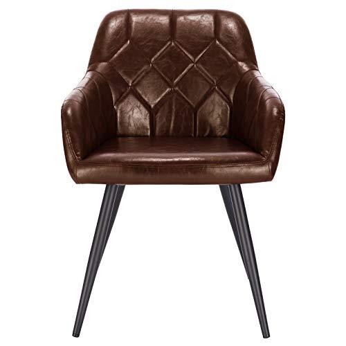 Lestarain 1X Sillas de Comedor Dining Chairs Sillas Tapizadas Sillas Salón Sillas Cocina Nórdicas Cuero Sintético Paquete...