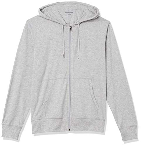 Amazon Essentials Lightweight Jersey Full-Zip Hoodie Fashion, Gris Brezo, US M (EU M)