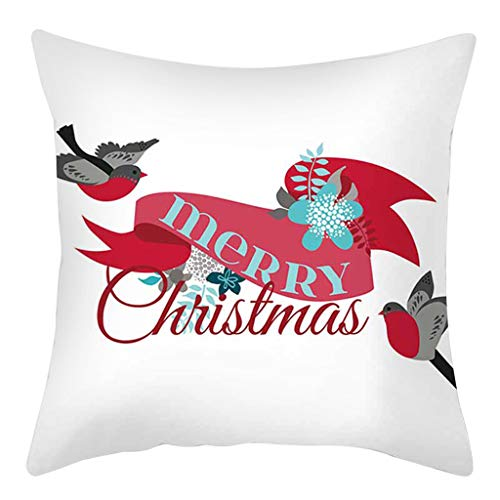 Shan-S Throw Pillow Covers 18x18 Inch Christmas Decorations for Home Bedroom Sofa Cushion Farmhouse Cotton Linen Pillow Case Pillowcase Indoor Decor for Christmas Party Supplies