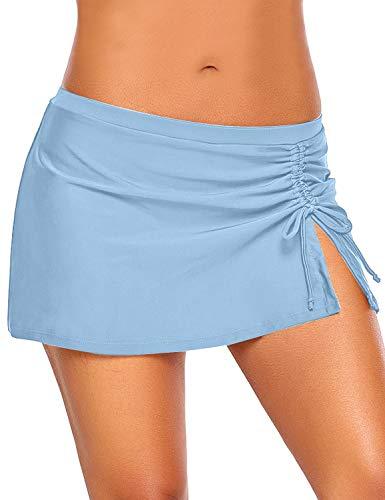 Roskiky Hüfthohe Damen Bikini-Hose mit Rock, Seitenschlitz und Kordelzug Himmelblau Größe S