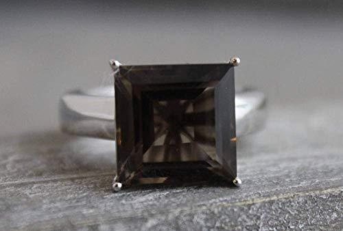 15mm Prinzessschliff Rauchquarz Sterling Silber Ring US-Größe 6 / Diameter 16.5 (norway)