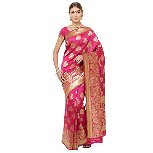 IDIKA Women's Banarasi Art Silk Saree With Blouse Piece (I29122_Pink)
